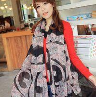 nz035-2 Free shopping 1pcs 4color autumn winter scarf  Velvet chiffon Big long silk scarf/Classic leopard foulard neckerchief