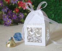 100 Laser Cut Candy Boxes 18 color Birdcages Paper Gift Cards LOVE BIRDS Decoration Wedding Favors Paper Party Cards Decorative
