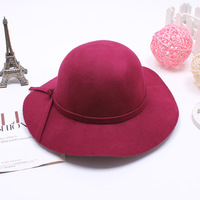 Autumn paragraph wool cap  big dome fedoras female bow cap