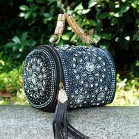 2014 spring denim knitted handbags rhinestone portable one shoulder cross-body shoulder bags messenger bags