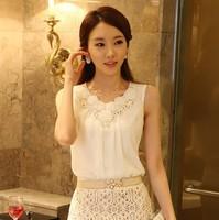 2014 summer fashion Women's sleeveless chiffon vest black and white S-XXXL 033 free shipping