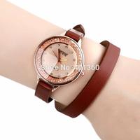 2014 New Fashion Women Dress Watches with Rhinestone Sharp Glass Long PU Leather Strap Watch for Lady