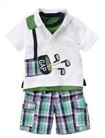 2014 new high quality Children POLO t shirt + Plaid Shorts 2pcs set Summer boys short sleeve t-shirt kids casual clothing
