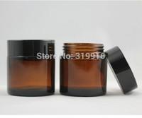 High Quality  50g  Brown Clear Glass Bottle Eye Cream Jar Makeup Jar Black Aluminum Cap Inner Cap Wholesale
