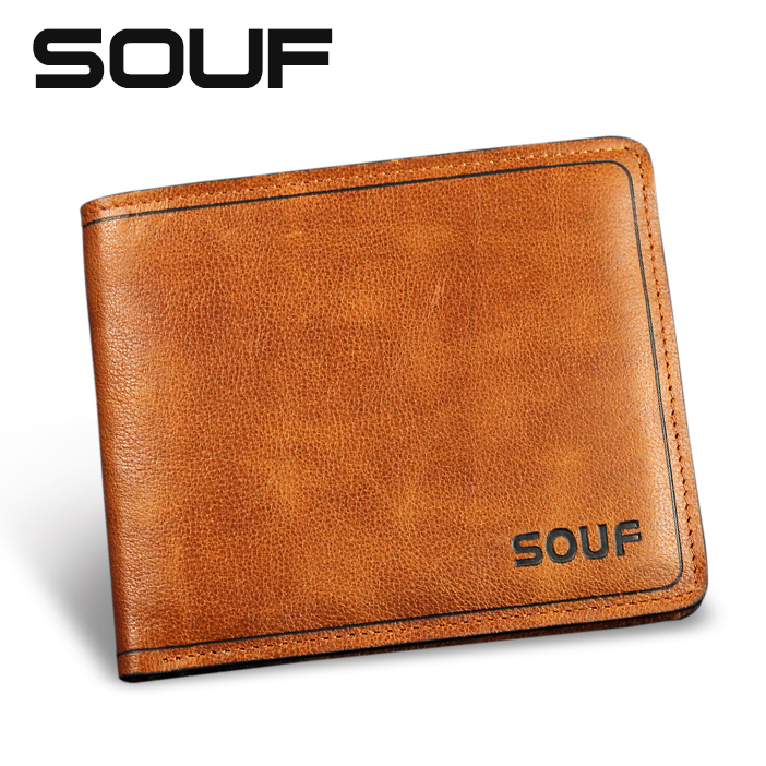 free shipping Souf male genuine leather short wallet design casual soft wallet men's cowhide clip card holder wallet lettering(China (Mainland))