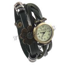 Free shipping!!!Cowhide Watch Bracelet,Women Jewelry, with Zinc Alloy, plated, enamel & 2-strand, green, nickel