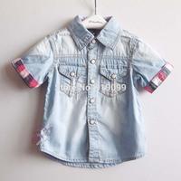 5pcs/lot (2-7T) Wholesale 2014  Summer New Boys Shirts Short Sleeve Denim Shirt Kids Casual Shirt Brand t shirt Free Shipping