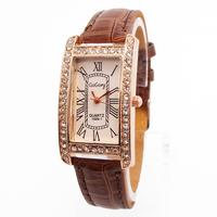 Wholesale women wristwatches ladies fashion leather strap quartz watch rhinestone Women dress watches FS194