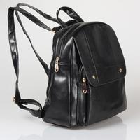 Black PU Vintage School Preppy Women Girl Backpack Removable Straps Messenger Tote Leather Backpack#HC059