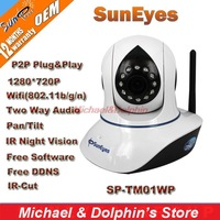 Free Shipping SunEyes 720P HD 1.0 MP Wireless IP Network Camera with Two way audio and support P2P Plug and Play SP-TM01WP