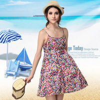 2014 Summer New Bohemian Floral Women Beach Dress, Spaghetti Strap One-piece Summer Dress Sundress Vestidos