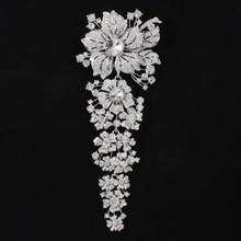 Mrs X Rhinestone Crystal Big Long Brooches Bridal Clear Flower Broach Pin 7 9 For Wedding
