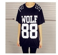 Cheap Brand Women WOLF 88 Leters EXO Tshirt Printed Harajuku Girl Shirt Short Sleeve Tops Tee BTZ053-14