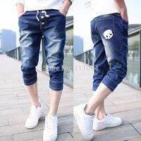 2014 men's clothing base fashion short casual denim shorts straight slim jeans. middle length drawstring modern style