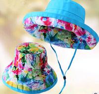 2014 Summer Wide Brim Cotton Sun Hat For Women Fashion Beach Cap 6 Nice Color For Choose