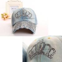2014 New Free Shipping Fashion Snapback Hats Vogue Good Quality Rhinestone Beanies Crown Shaped Denim Baseball Caps CZ Diamond