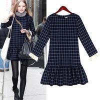 2014 Autumn Winter Fashion All-match Plaid Slim Long-sleeve Ruffles Girl Dress Warm Dress