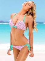 brand  push up bikini set print pink dots 3140 women swimsuit bandage swimwear for bathing swim suit beach wear