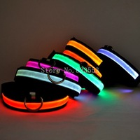 free shipping Safety Luminous Glow Pet Dog LED Collar Safety necklace Flashing Lighting Up Blue Red Yellow size S M L