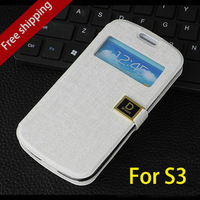 New luxury Windows Oracle D words buttons  back cover phone case kingfor samsung Galaxy s3 siii PU Flip leather i9300 cases