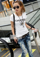 Free Shipping! 2014 New Classic Cotton Lady Women's Logo Short sleeve Shirt T-Shirt TEE Tops White Have Tags