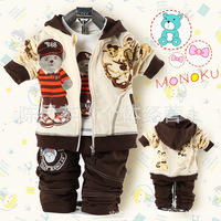 Free shipping Retail 2014 new spring Korean children bear Boys beret three-piece suit sets babys suits shirt + Coat + pants