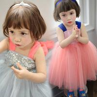 Clothing female child tank summer dress 2014 girls princess Dress gauze Dress Sleeveless Knee-length
