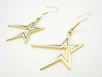 2014 new sports fashion rhinestone lightning gold plated earrings with free shipping