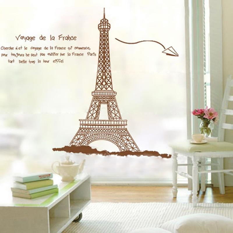 Parede Torre Eiffel removível Adesivo Decalque Arte DIY decoração de casa decoração adesivos para quartos dos miúdos decalques Adesivo De Parede(China (Mainland))