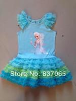 Frozen Tutu Dress Summer  Hot Sale In Stock Frozen Elsa Petti Blue Dress Frozen Elsa Princess For 2-6Years From Original Factory