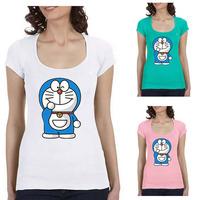 Lovely Doraemon Womens T-Shirt Scoop Neck Short Sleeves In Hot