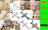 titanium steel silver crucifix necklaces pendants 18 style cross braid jewelry necklace pendant vintage Colar for women  men