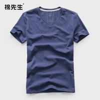 Summer male V-neck T-shirt 100% short-sleeve cotton shirt basic 100% cotton male t-shirt male