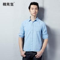 2014 spring male solid color linen shirt fluid long-sleeve slim shirt male