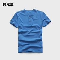 2014 T-shirt summer short-sleeve male color yarn Henry collar t-shirt 100% short-sleeve cotton t-shirt male