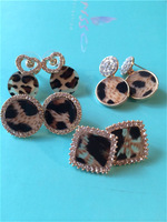 Fashion luxury vintage circle heart square diamond leopard print ladies earrings stud earring
