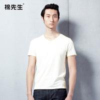 Male 100% cotton v-neck slim 100% T-shirt short-sleeve cotton t-shirt brief all-match basic shirt male