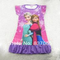Frozen Pajamas Dropshipping In Stock Frozen Sleepwear Dress Frozen Nightgowns Short-Sleeve Elsa & Anna Frozen Princess Dress