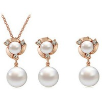 2014 New Fashion Jewelry Set 18K Rose Gold Plated  Freshwater Pearls Jewelry Set Wedding Jewelry set Free shipping