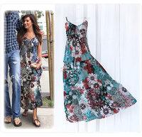 Free Shipping Star style bohemia suspender skirt dress beach dress skirt full dress 100% cotton one-piece dress