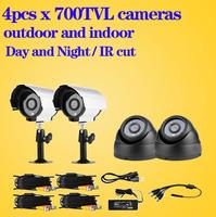 CCTV surveillance security IR cut Cameras CMOS 700tvl 4pcs night vision waterproof outdoor indoor camera motion detection