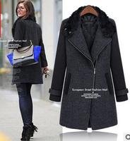 2014 New Fashion Winter Ms. Slim New Winter Woolen Coat Long Section Of Rabbit Fur Collar Wool Coat Nick  WBZ0003
