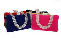 2014 new fashion Female Diamond U Shape Evening Bag Luxury Finger Clutch Purse Wedding Party Bag With Chain 7309