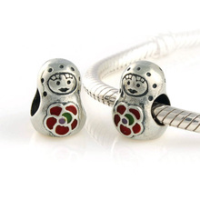 Hot Roly-Poly Russian Girl Doll Gift 925 Sterling Silver Loose Charm European Beads Jewelry Findings Fits Pandora Bracelet DIY