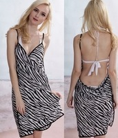 2014 summer new arrival zebra suspender wrap dress,beach dress,holiday dress