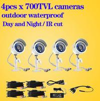4pcs Camera CCTV System 700TVL IR Outdoor CCTV Security Surveillance Camera for home video surveillance + Video Power Cable