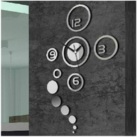 Creative 3D DIY Home Modern Decoration Crystal Mirror Living Room Wall Clock #54750