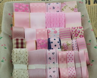 mix size pink ribbon set and ribbon for handmade hair accessory,as picture 28 meter,1 meter for each one