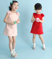 free shipping 2014 new preppy style Flower Princess Dress Baby clothing