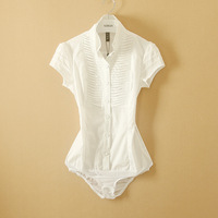 New Ladies Fashion Double layer Collar Conjoined Body Shirt Women's All-match Hot Causal OL short Sleeve Brand Blouses
